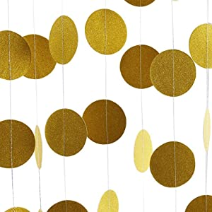 5 Pack Glitter Paper Garland Circle Dots Hanging Decor, Paper Banner for Baby Shower, Birthday, Nursery Party Decorations (Gold)
