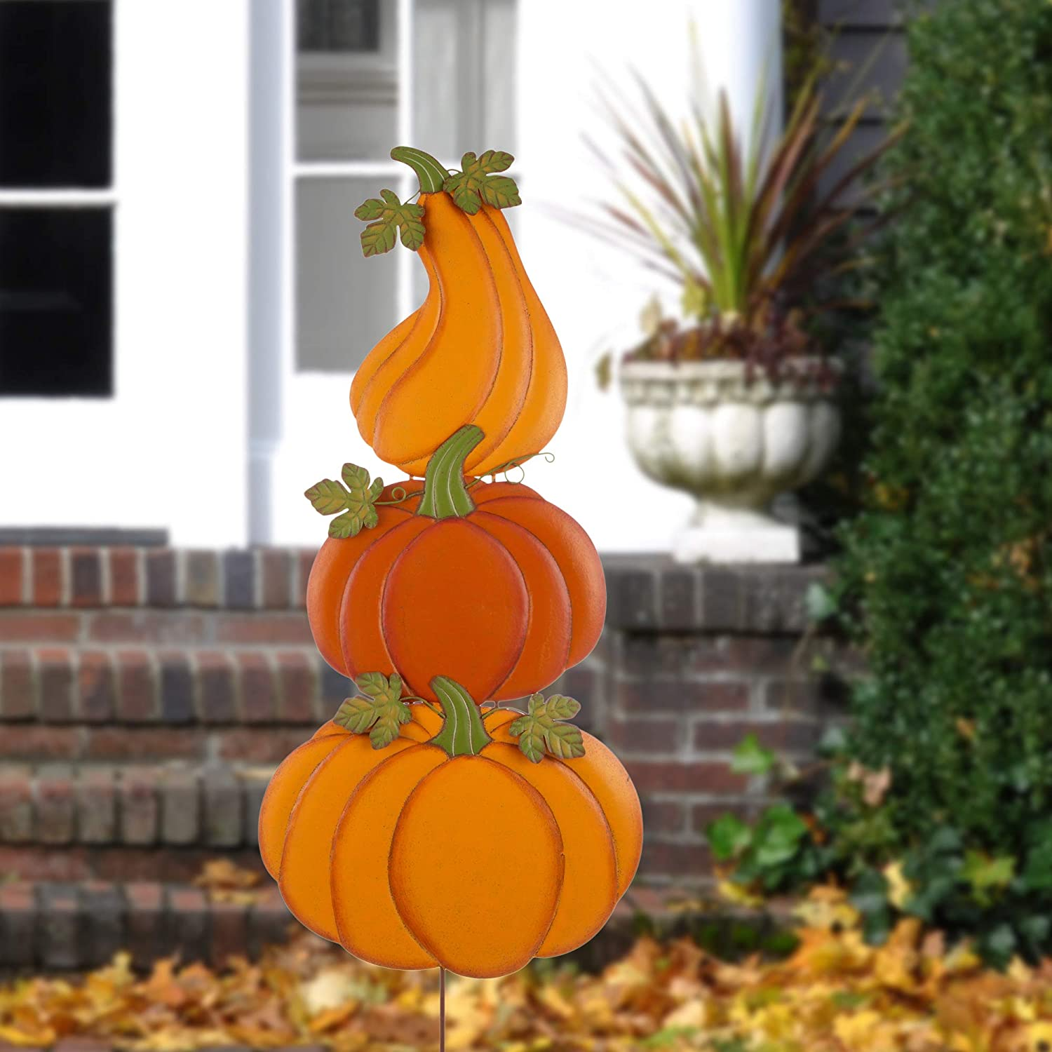 "Glitzhome Fall Pumpkins Yard Stake Rustic 3 Pumpkin Sets Yard Sign with Stakes Metal Hanging Fall Harvest Thanksgiving Pumpkin Wall Door Decoration, 42""H"