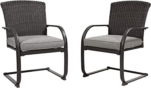 Grand Patio Outdoor Patio Spring Motion Wicker Ding Chair,All-Weather Furniture Chairs with Grey Cushion Set of 2