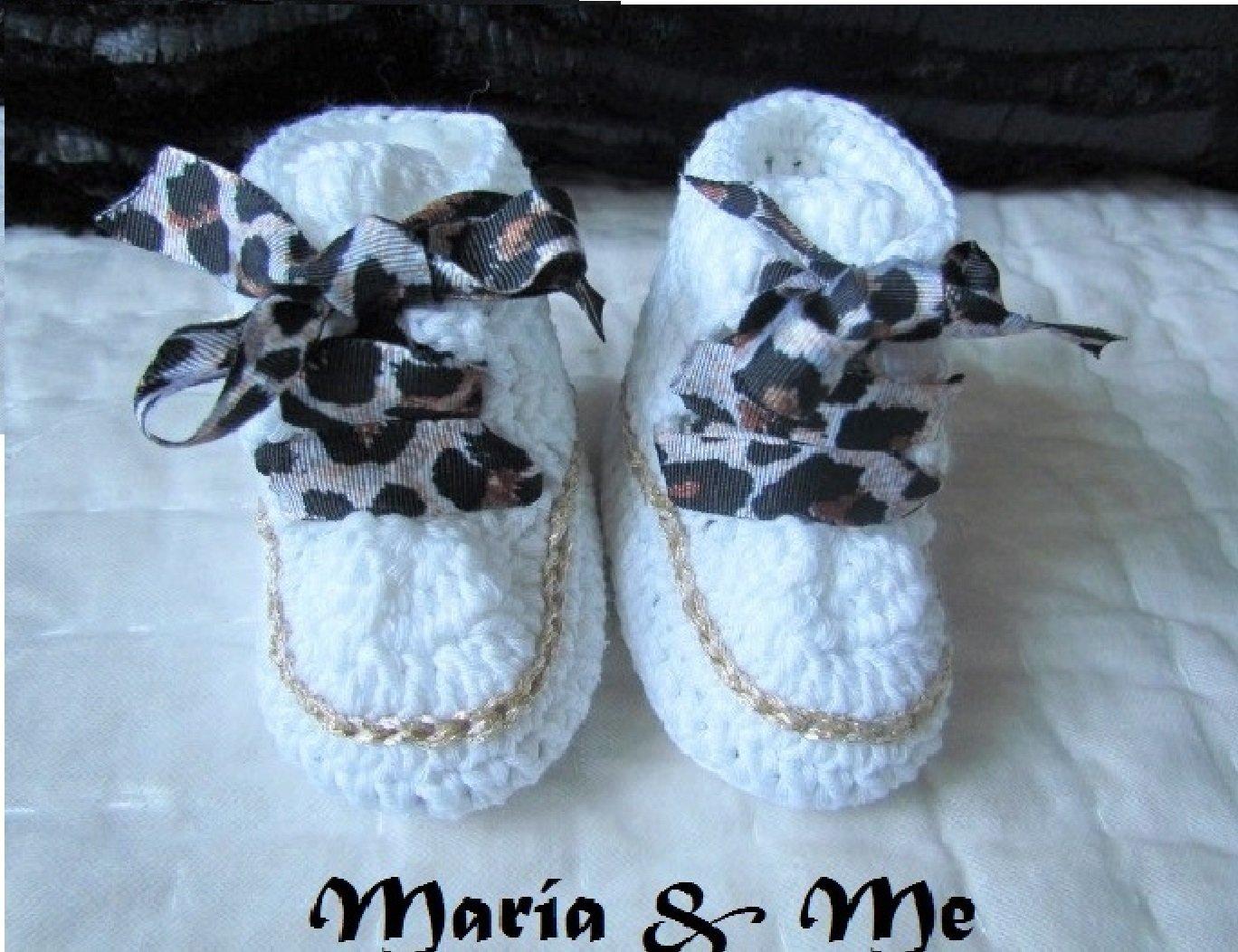 Patucos recién nacido estilo converse con cordones de leopardo ...