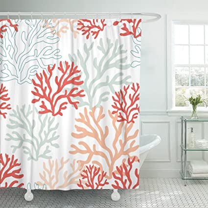 TOMPOP Shower Curtain Sea Red Pink And Mint Corals On The White With Tropical Reef Nautical