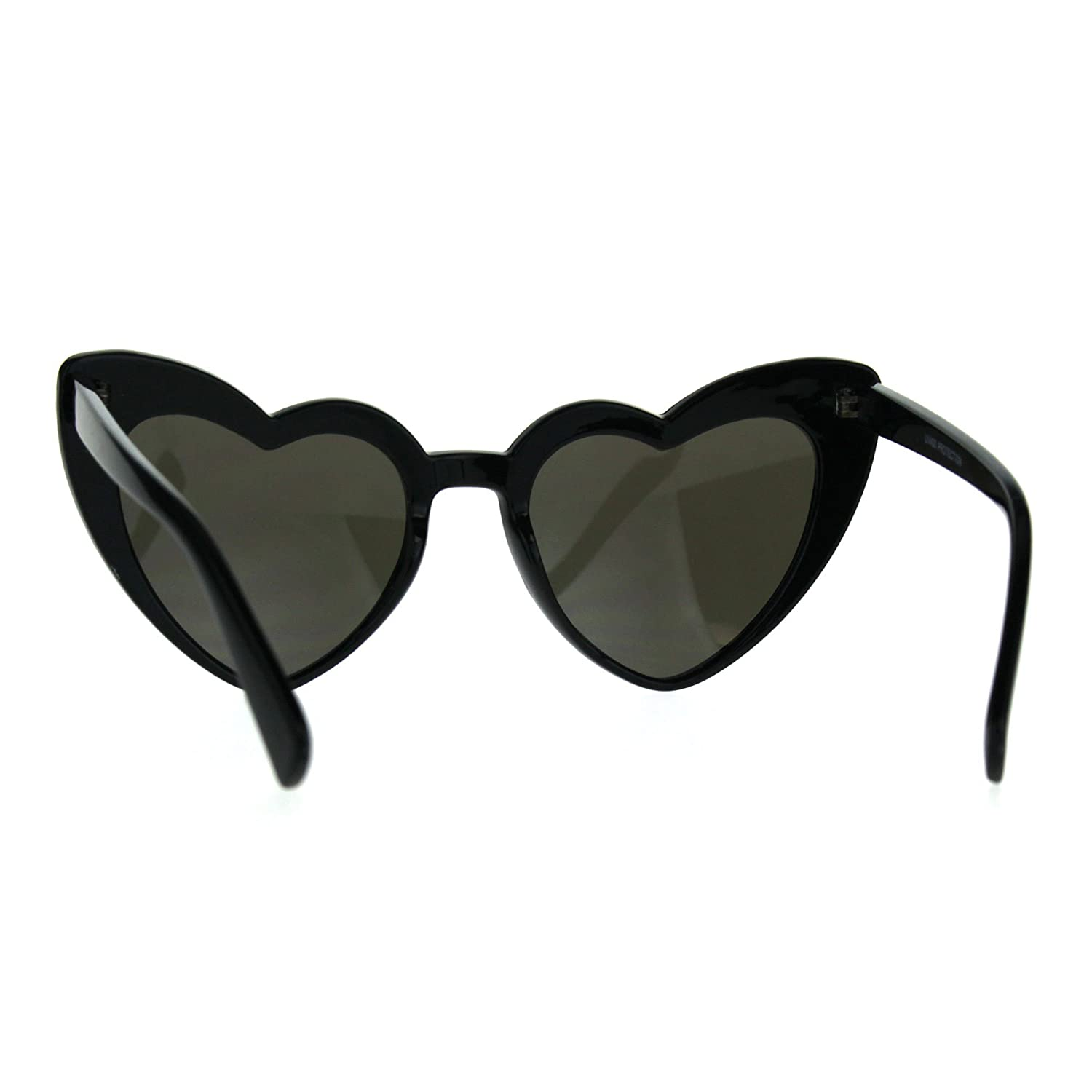 f21682ee06 Amazon.com  Womens Heart Shape Color Mirror Cat Eye Plastic Groovy  Sunglasses Black Blue  Clothing