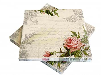Unbekannt 20 Servietten Motiv Tischdeko Hochzeit Feier Rose Vintage