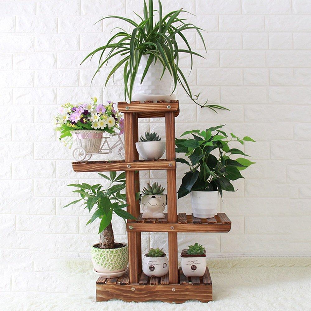 Portavasi XIAOLIN- Multistrato in legno massello rack di fiori Balcone soggiorno con vasi di fiori multi- Pavimento interno ed esterno rack di fiori -Fiori di finitura cornice
