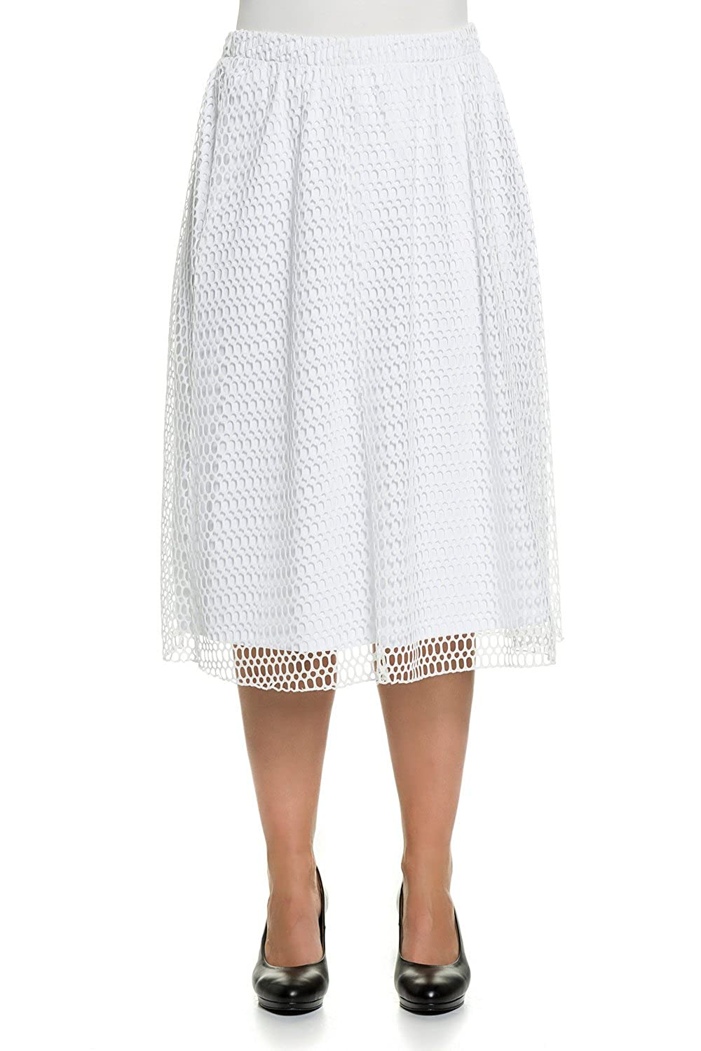 Ulla Popken Women's Plus Size Mesh Layer Skirt 704655