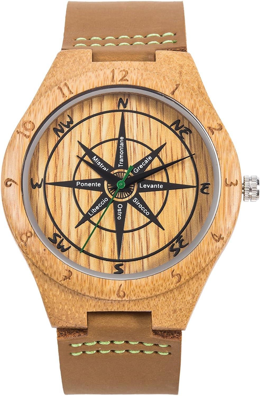 Reloj de Madera de Cuero, Relojes de brújula de bambú Hechos a Mano MUJUZE, Relojes de Pulsera para Hombre con Correa de Vaca marrón (Bamboo Compass)