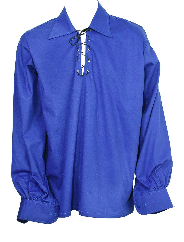 Scottish Royal Blue Jacobite Ghillie Kilt Shirt Leather Cord NORMAN INTERNATIONAL