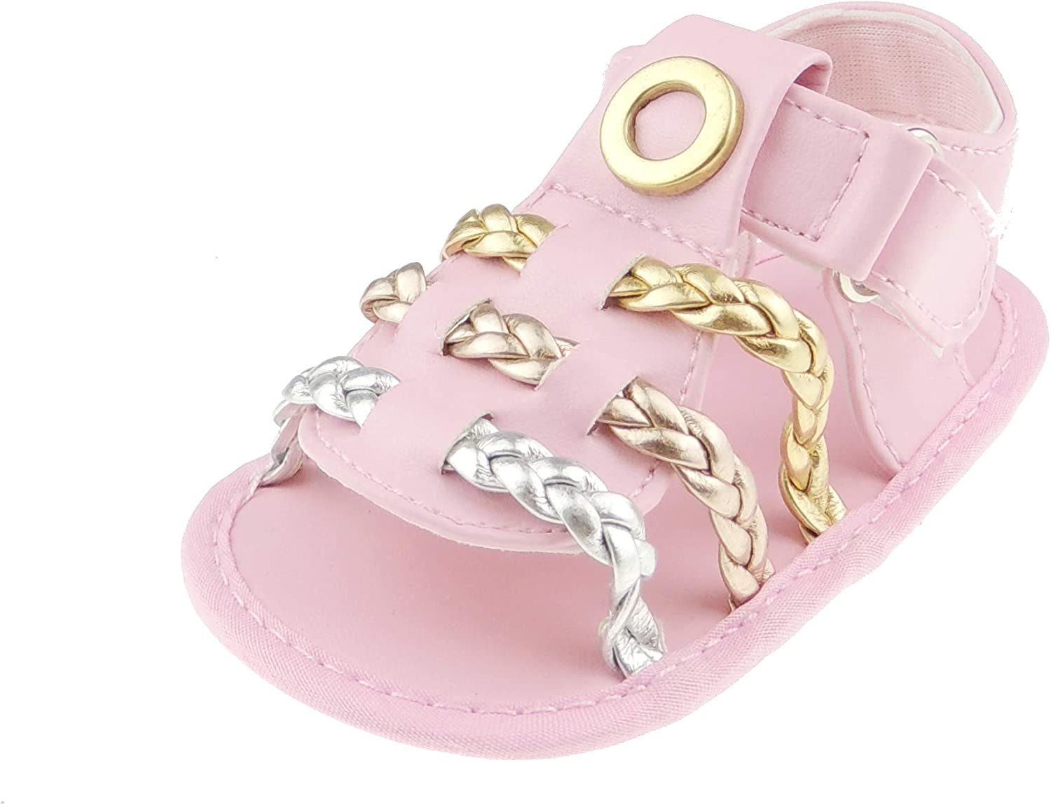 Gold, 11 0-3 Months Glamour Girlz Baby Girls Rope Leather Look Summer Beach Holiday Strappy Sandals