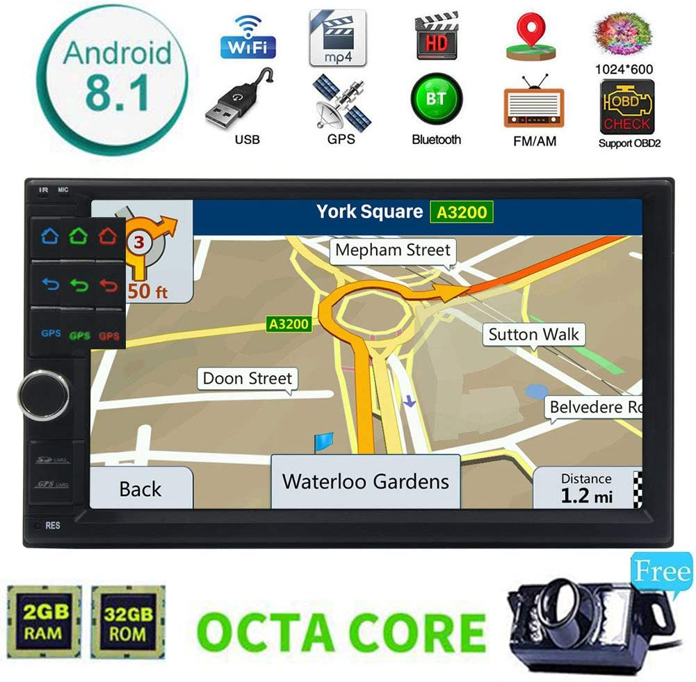 Android 8.1 Oreo System 7 Inch Touchscreen Headunit with Multi Colorful Button Lights Support GPS Navigation//Handsfree Bluetooth//Mirror Link//OBD//USB//SD Free Wireless Backup Camera!!