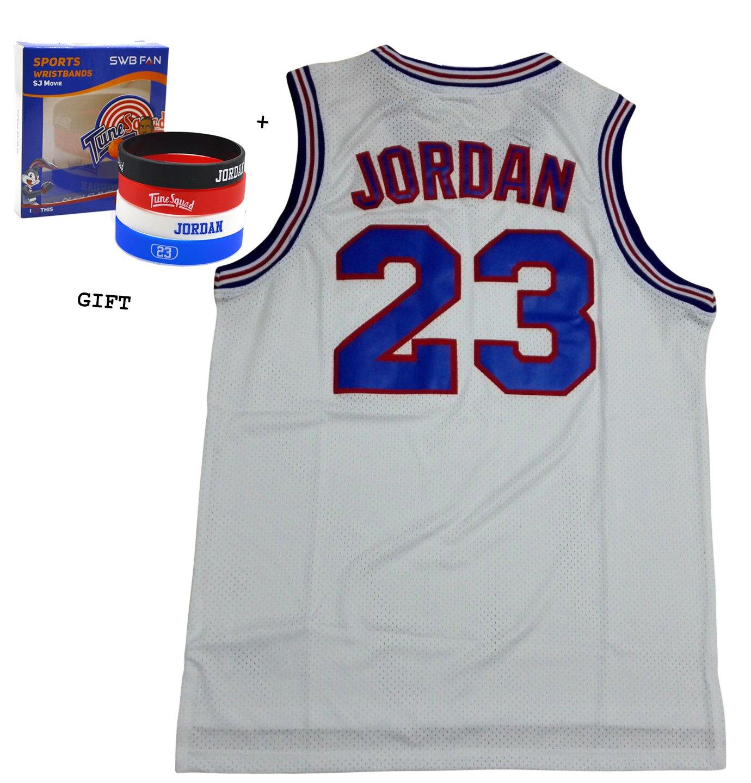 Jordania 23 escuadrón espacio Jam Jersey baloncesto Jersey, incluye temáticas de pulseras (blanco, L): Amazon.es: Deportes y aire libre