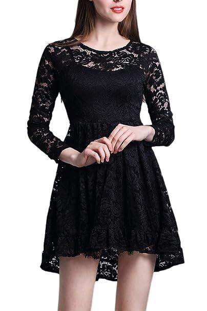 Vestido de fiesta de mujer Elegante de encaje manga larga oscilación Black L