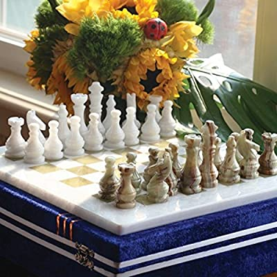 RADICALn 15 Inches Large Handmade White and Green Onyx Weighted Full Chess Game Set Staunton and Ambassador Gift Style Marble Tournament Chess Sets for Adults -Non Wooden -Non Magnetic -Not backgammon: Toys & Games