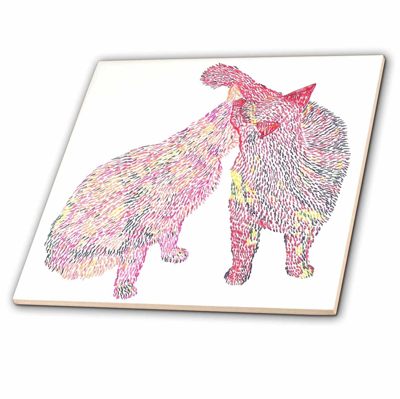 6-Inch 3dRose ct/_15320/_2 Colorful Abstract Cat Kiss-Ceramic Tile