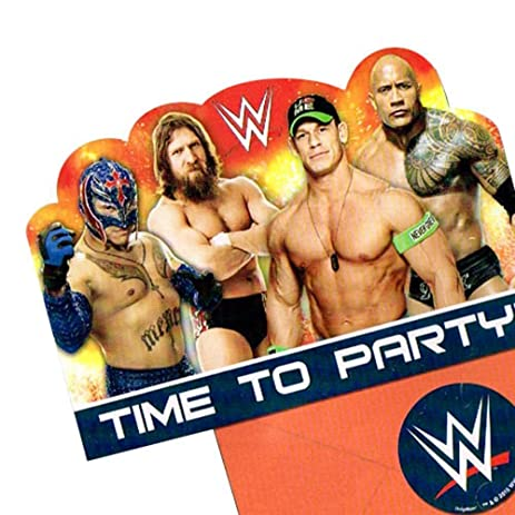 Amazon wrestling wwe party birthday invitations invite 24 wrestling wwe party birthday invitations invite 24 pieces decoration filmwisefo