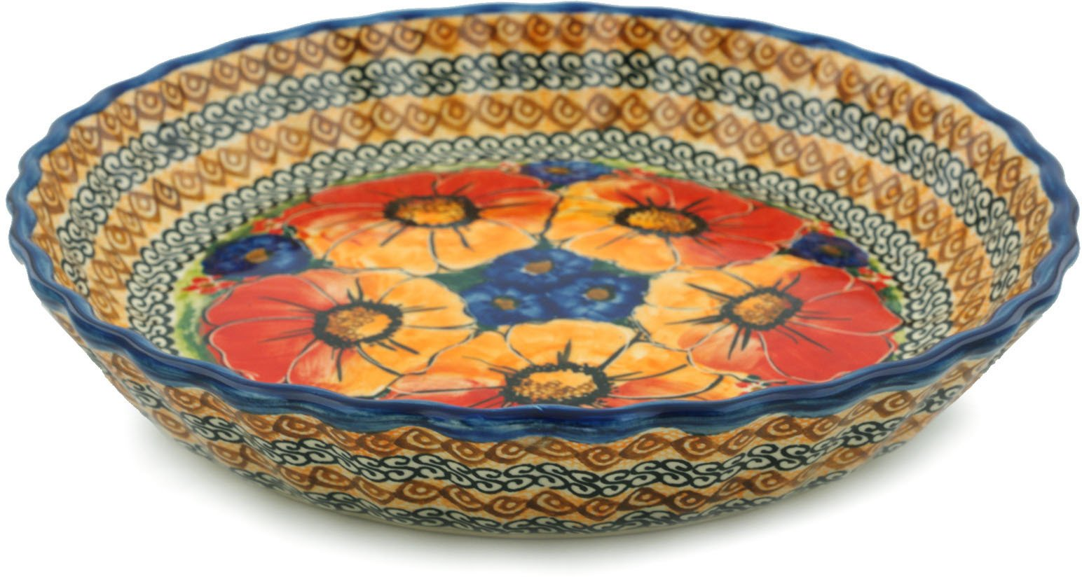 Polish Pottery Fluted Pie Dish 10-inch Bright Beauty UNIKAT by Polmedia Polish Pottery
