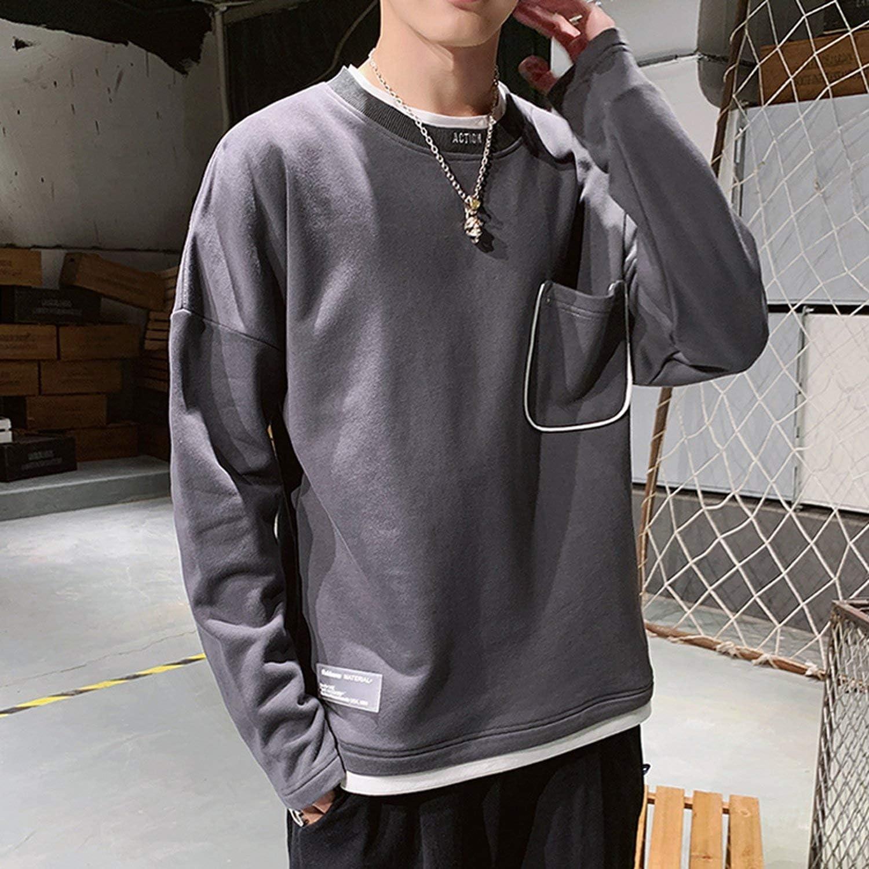 L/&Heart Streetwear Men Sweatshirts Solid Color Printed O Neck Long Sleeve Pullover