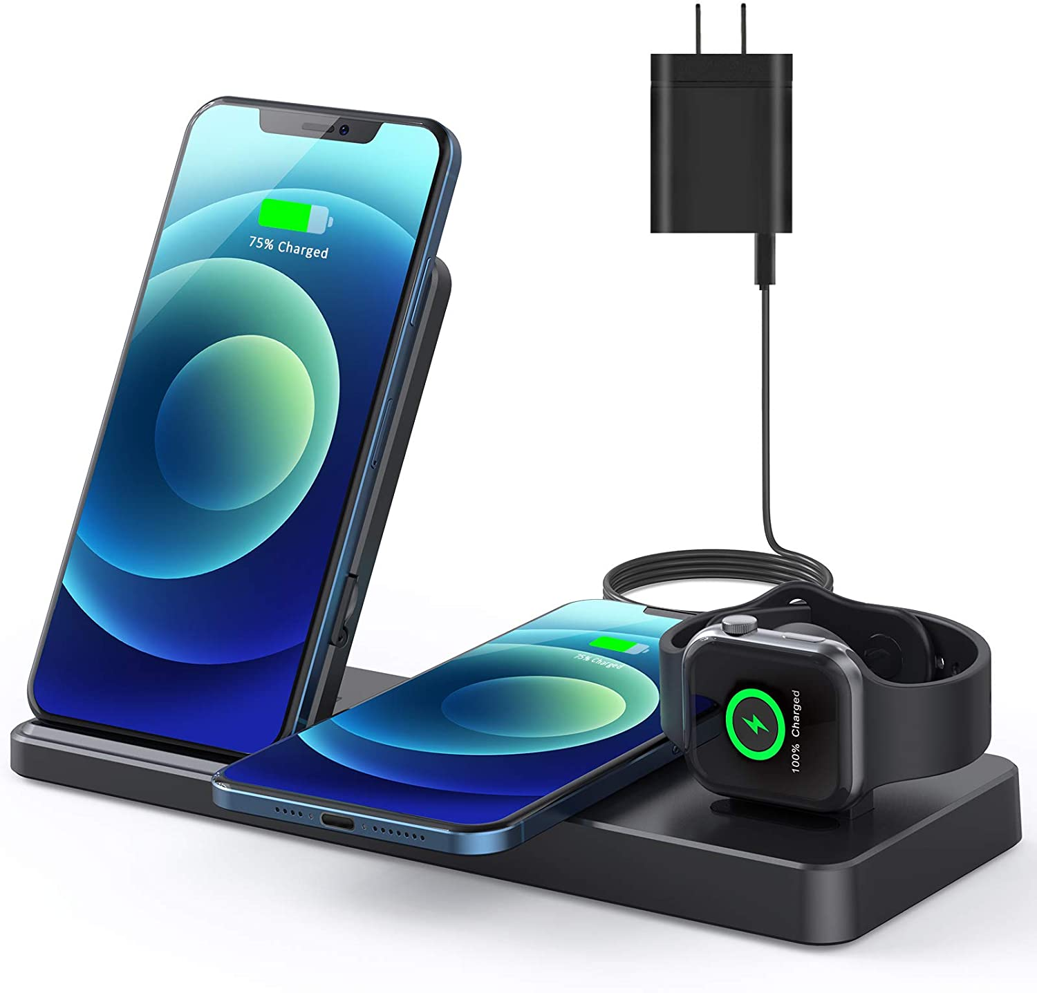 QI-EU Wireless Charger, 24W Wireless Charging Station Compatible with iPhone 12/12 pro/ 12 mini/11/11 Pro Max/Se/X/,Adjustable Charging Stand for iWatch SE/6/5/4/3 Airpods 2/ Pro with Fast Adapter