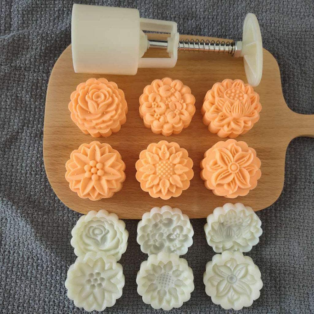 50g Mooncake Mold 4//6pcs 3D Flowers Stamps Hand Press Moon Cake Pastry Mould DIY
