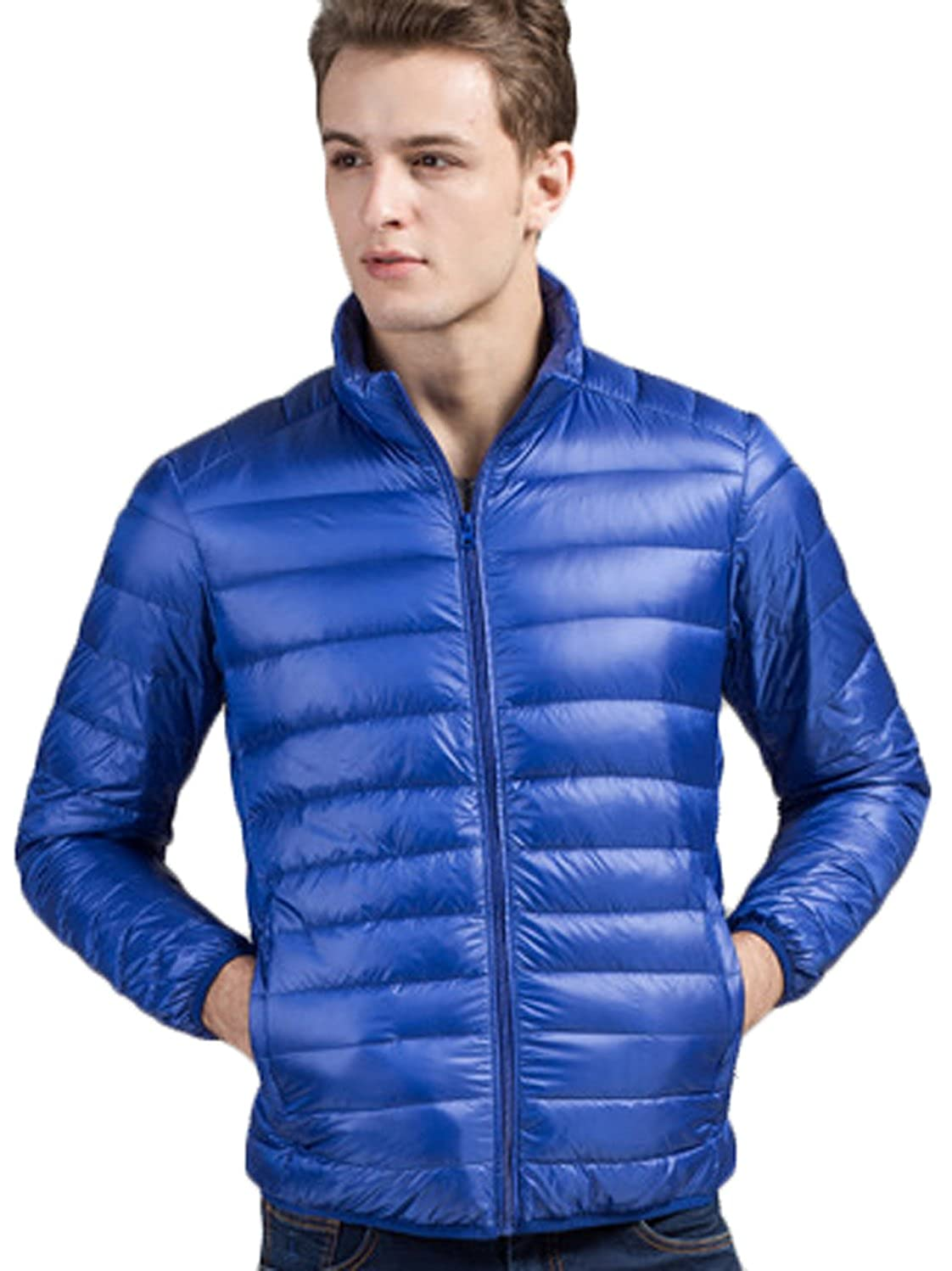Youhan Mens Light Weight Stand Collar Packable Short Down Jacket