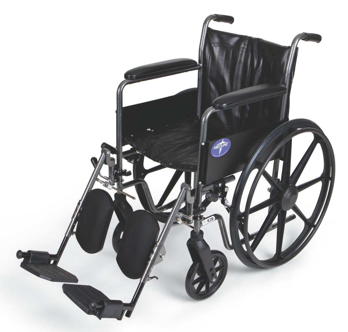 """Medline Easy-to-Clean and Durable Wheelchair with Full-Length Arms and Elevating Leg Rests for Extra Comfort, 18"""" Seat"""