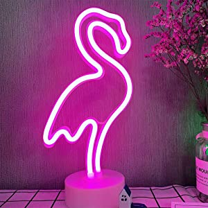 Flamingo Neon Signs Light LED Neon Signs Lamps Flamingo Pink Neon Lights Room Decor Battery/USB Operation Night Lights with Base Neon Signs for Bar Bedroom Wedding Christmas