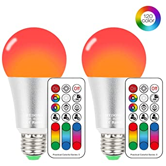 Bombilla LED Colores con Mando, E27 RGBW LED Bombillas Regulable Cambia de Color 10W,