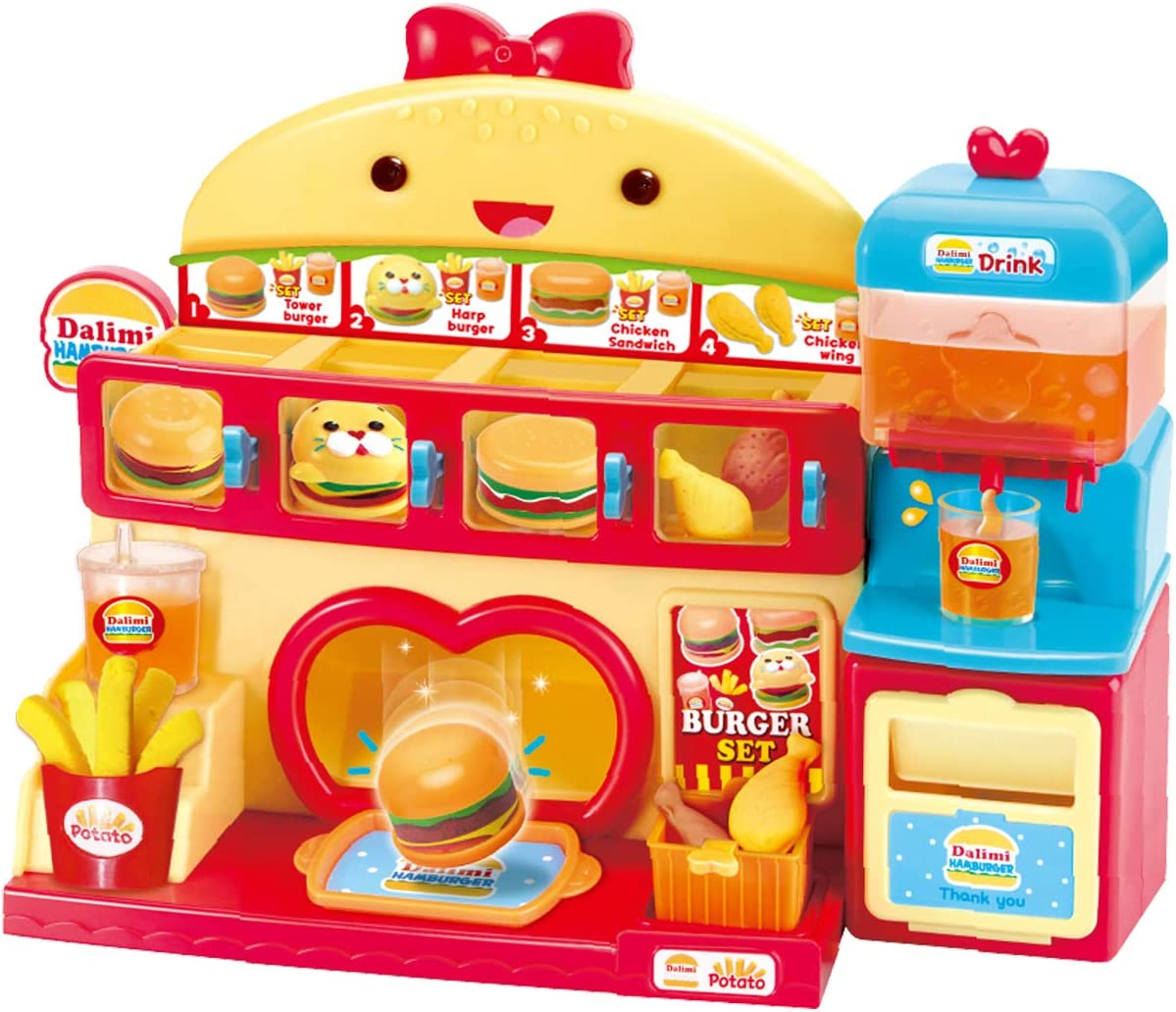 Dalimi TOYTRON, Burger Store Playset for Kids, Fast Food Vending Machine playset for Toddlers Ages 5 Years and Up, Including Magic Clay to Make Fries, Drum Sticks, Pancakes, and Shakes.