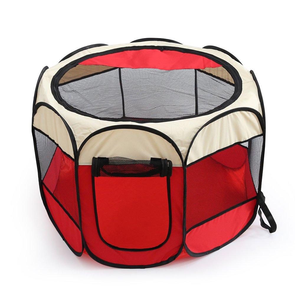 Petoice ペット用品 犬 猫 ケージ テント 小屋 サークル 天窓 メッシュ 折り畳み 頑丈 通気 ファスナー付け 安全 安心 防虫 防水 軽量 小型犬 中型犬 大型犬 レッド Sサイズ B075R5QQNG レッド S