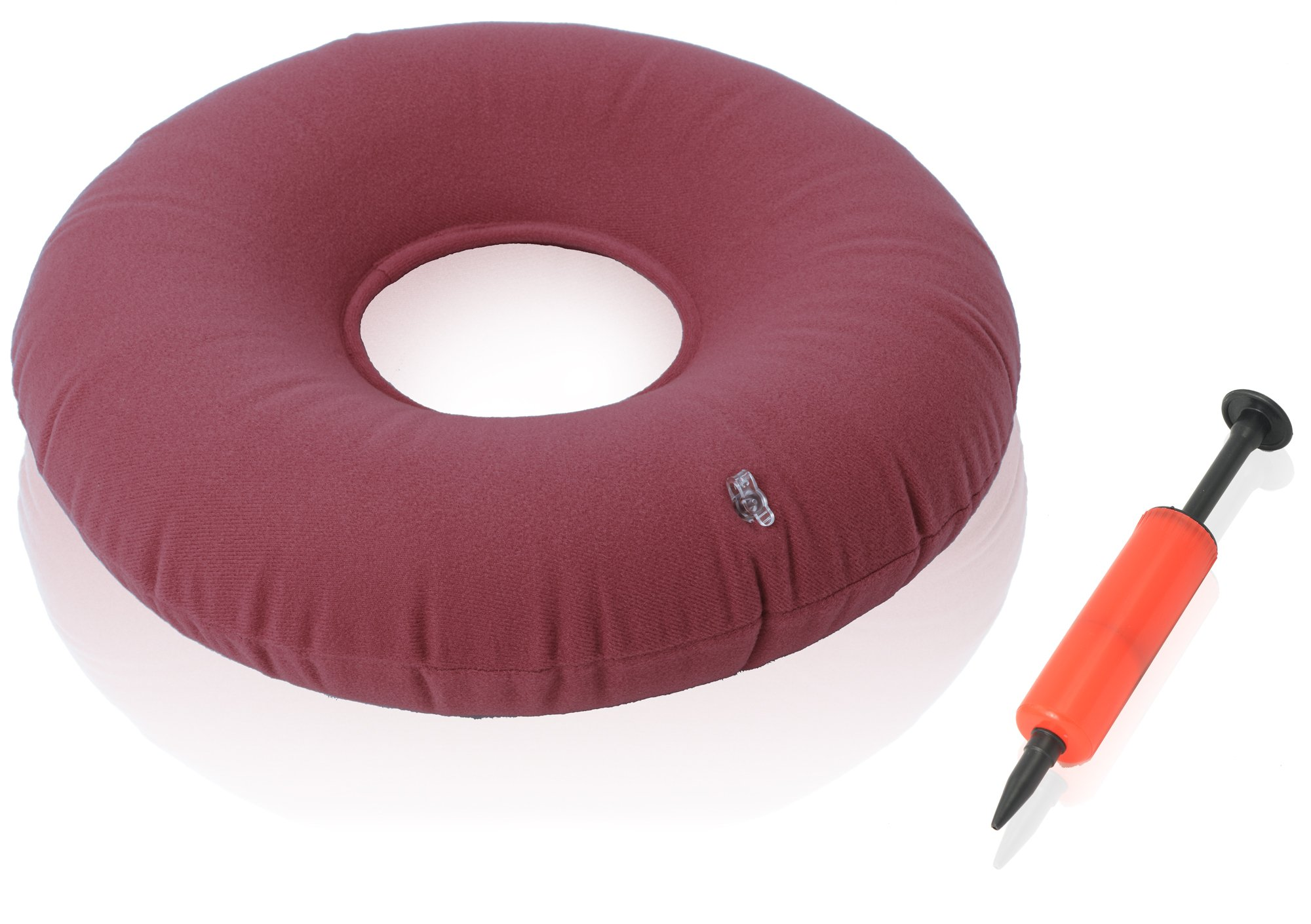 Dr. Frederick's Original Donut Cushion - 15'' Inflatable Donut Pillow for Tailbone Pain Relief - Hemorrhoid Treatment - Bed Sores - Prostatitis - Red