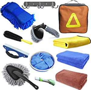 E-sds Car Cleaning Kit, 12pcs Car Wash Kit for Interior and Exterior - Car Wash Sponge, Wheel and Tire Brush, Water Scraper, Car Washing Towel, Hook, Home Car Wash Bucket Kit
