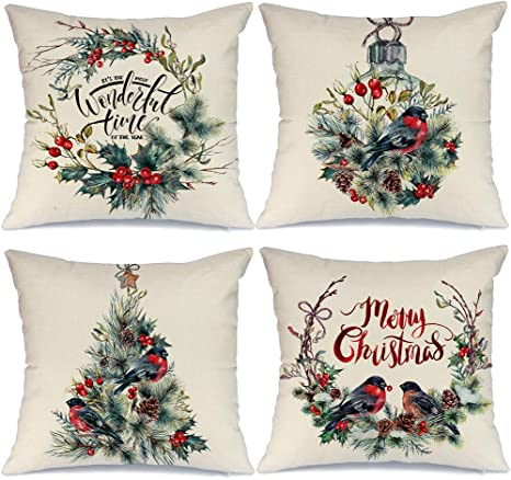 AENEY Farmhouse Christmas Pillow Covers 18x18 inch Set of 4 ...