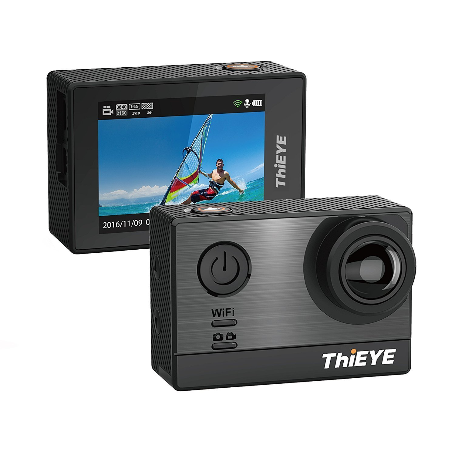 ThiEYE T5e Wifi Sport Camera,Ultra 4K HD16MP Sony Sensor/Ambarella Chipset Action Video Cam Compatible with External Mic,197FT Waterproof,170 Wide Angle,App Control by ThiEYE