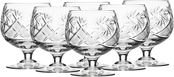 Russian Cut Crystal Cognac Snifters 300ml/10oz Hand Made Set of 6