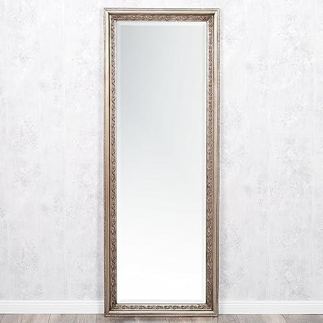 lebenswohnart wandspiegel argento barock 180x70cm spiegel silber antik holzrahmen und facette  wandspiegel ohne makel #4