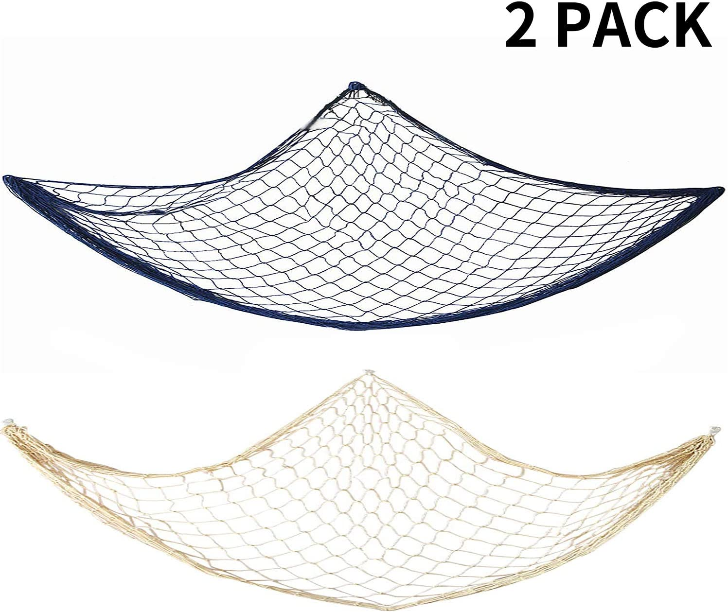 Natural Creamy White and Ocean Blue Color 2 Pack Decorative Fishing Nets Bedroom Wall Hanging Decoration for Home D/écor Living Room Mediterranean Theme Party Fish Net Decor 40 x 78 Inches