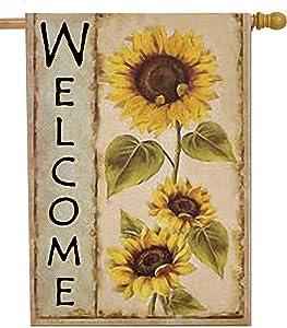 Selmad Welcome Sunflower 28 x 40 House Flag Farm Sunshine Flower Double Sided, Fall Floral Burlap Garden Yard Decoration, Autumn Seasonal Sweet Home Outdoor Vintage Décor Decorative Summer Large Flag