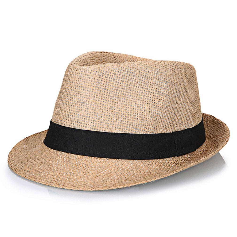 YASONG Men Summer Panama Straw Fedora Hat