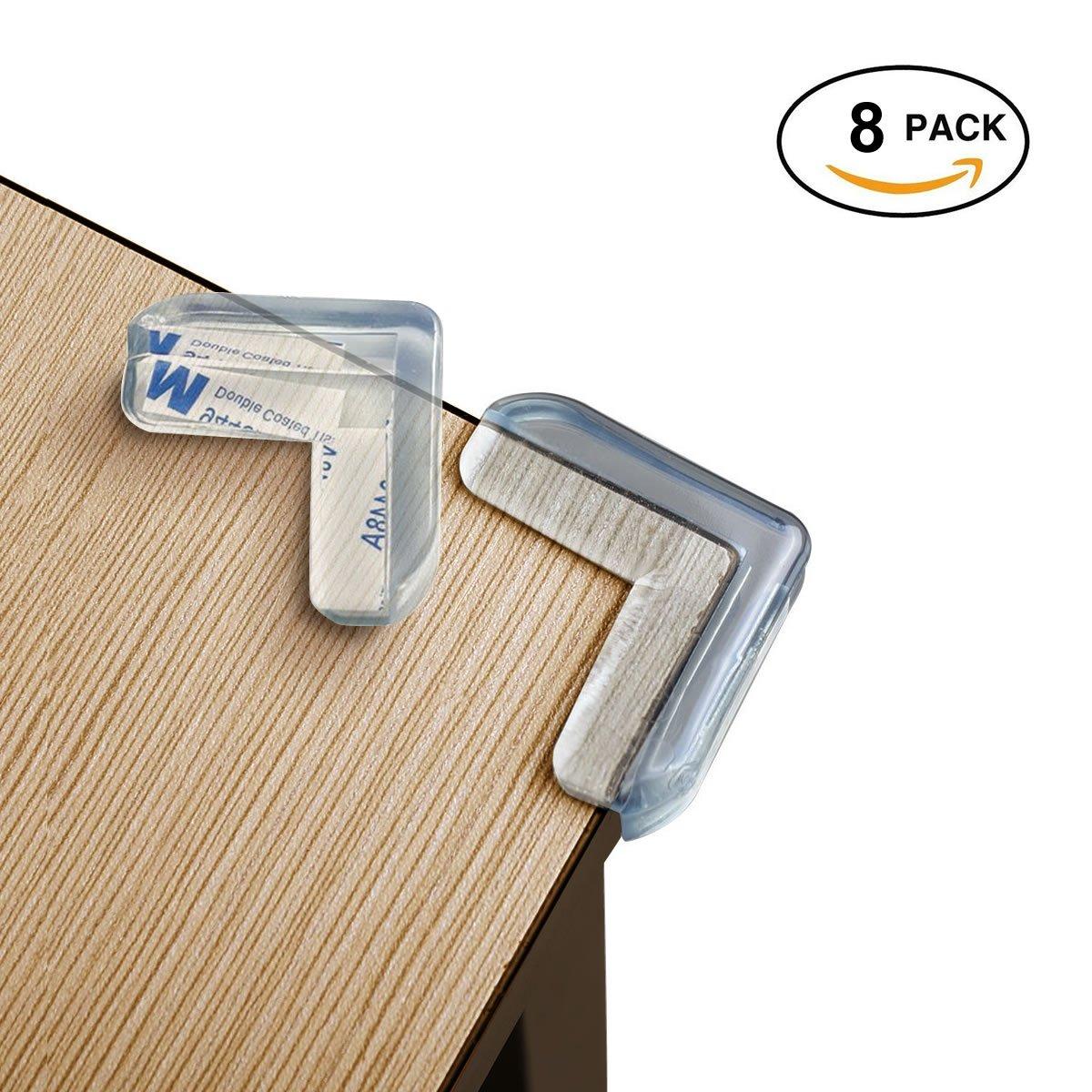 Stark klebende – L-förmige – weiche Baby Sicherheitsecken, Kantenschutz, Eckenschutz, Silikon Eckenschutz , selbstklebende Kantenschutz (8 Pack) Chuckle