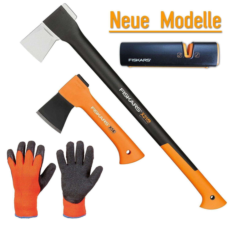 FISKARS© Set Spaltaxt X21 - L + Freizeitbeil X5 - XXS + Xsharp Axt- und Messerschärfer + Handschuhe