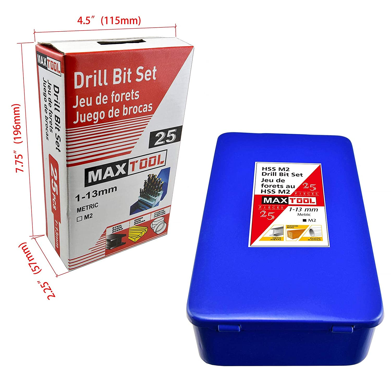 MaxTool 25 Pieces Twist Drill Bit Set; Jobber Length High Speed Steel M2 135 Deg Split Point Fully Ground 1mm 13mm X 0.5mm; BS02H10R025P