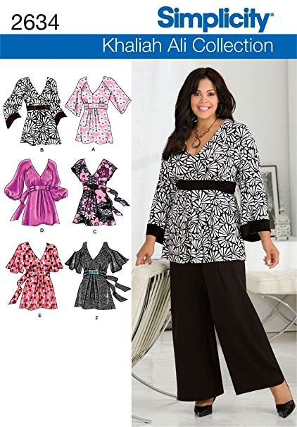 6dce08178c6e9f Amazon.com: Simplicity Sewing Pattern 2634 Plus Size Tops, GG  (26W-28W-30W-32W): Arts, Crafts & Sewing