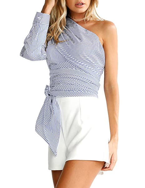 4cfe34992ca05b HaoDuoYi Womens Sexy Inclined Shoulder Wrap Up Spaghetti Strap Top Blouse  at Amazon Women s Clothing store