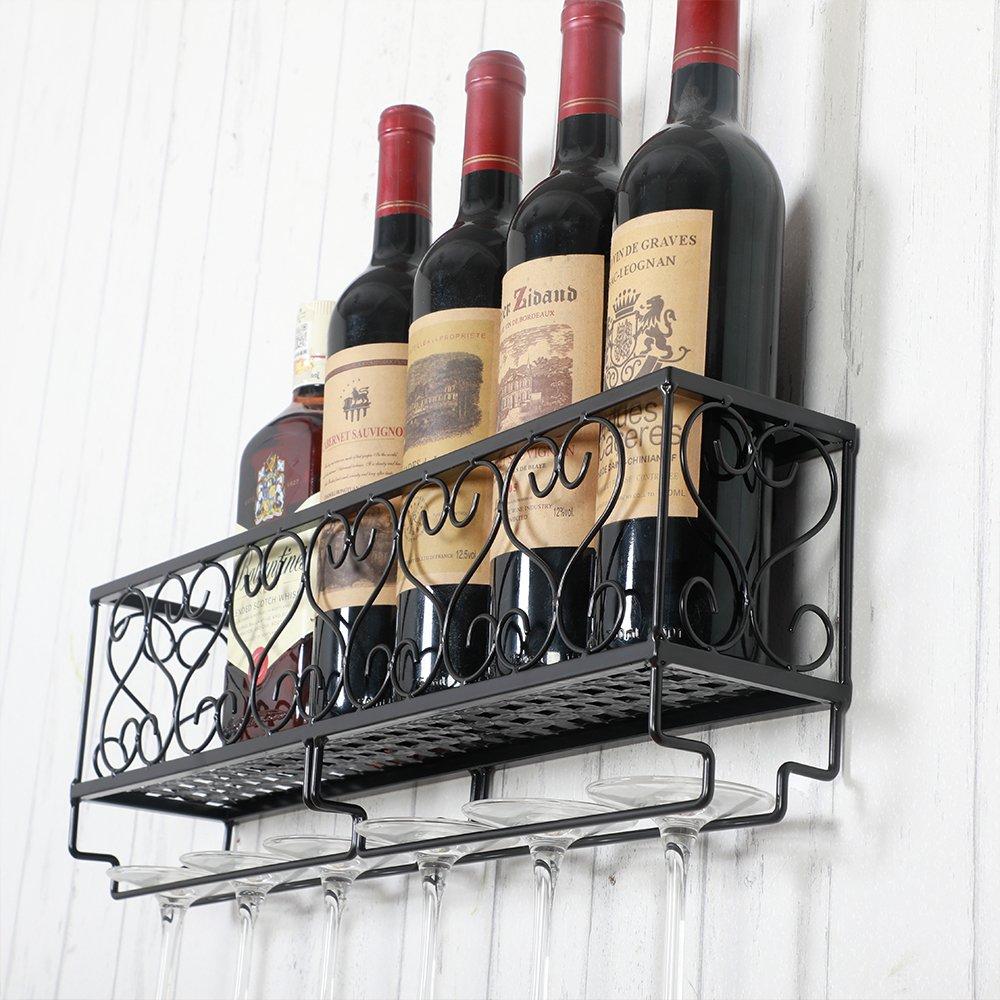 HENGHAO Wall Mounted Metal Wine Racks, Bottle & Glass Holder, Home & Kitchen Decor, 6 Bottles, Black (20'') by HENGHAO (Image #6)