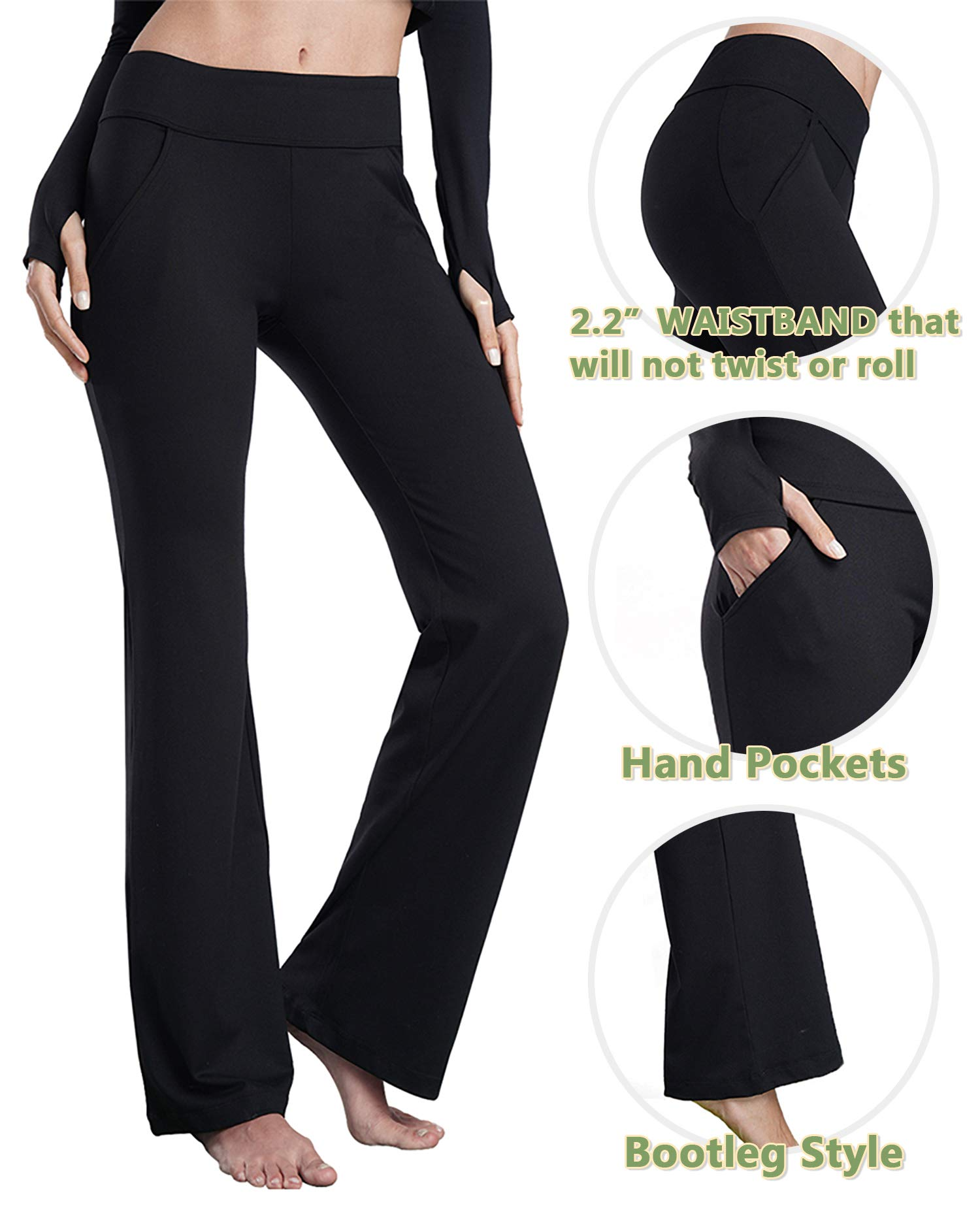 available new varieties On Clearance Bamans Yoga Dress Pants for Women Bootcut, Slant Pockets, Wide Flare,  Workout Long Bootleg Dress Yoga Pants