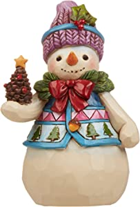 """Jim Shore Heartwood Creek Pint-Size Snowman with Pinecone Stone Resin Figurine, 4.75"""""""