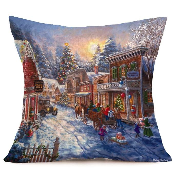 Fossrn Navidad Fundas Cojines 45x45,Patrón de Paisaje Nieve Funda de Almohada Decorativo