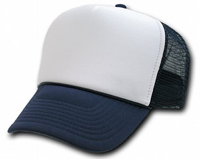 7bc6e76c Amazon.com: NAVY BLUE AND WHITE MESH TRUCKER STYLE CAP HAT CAPS HATS ...