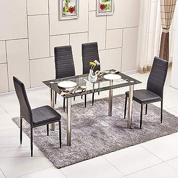 Mesa de comedor moderna de cristal templado negro con patas de metal para  cocina, mesa de salón contemporánea 4/6/8 personas Chrome Leg Table