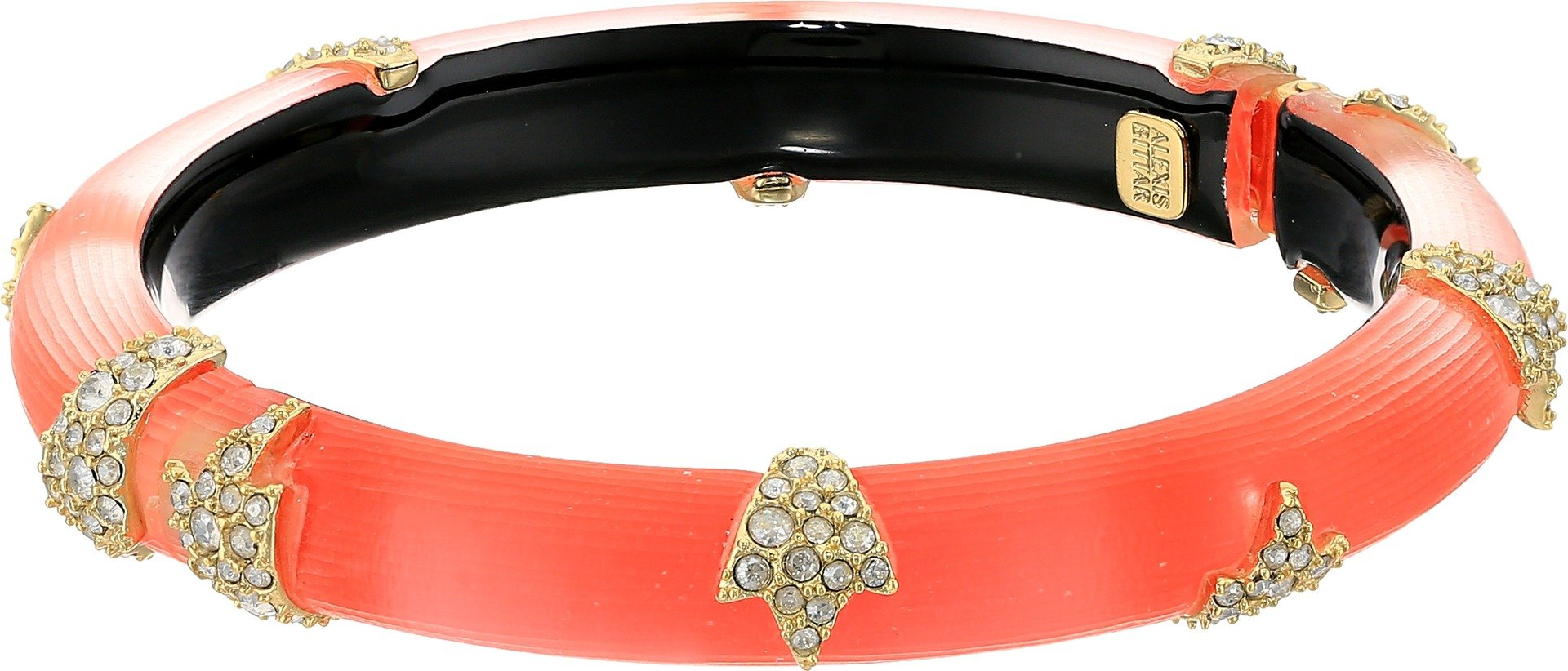 Alexis Bittar Women's Crystal Encrusted Skinny Studded Hinge Bracelet Coral One Size