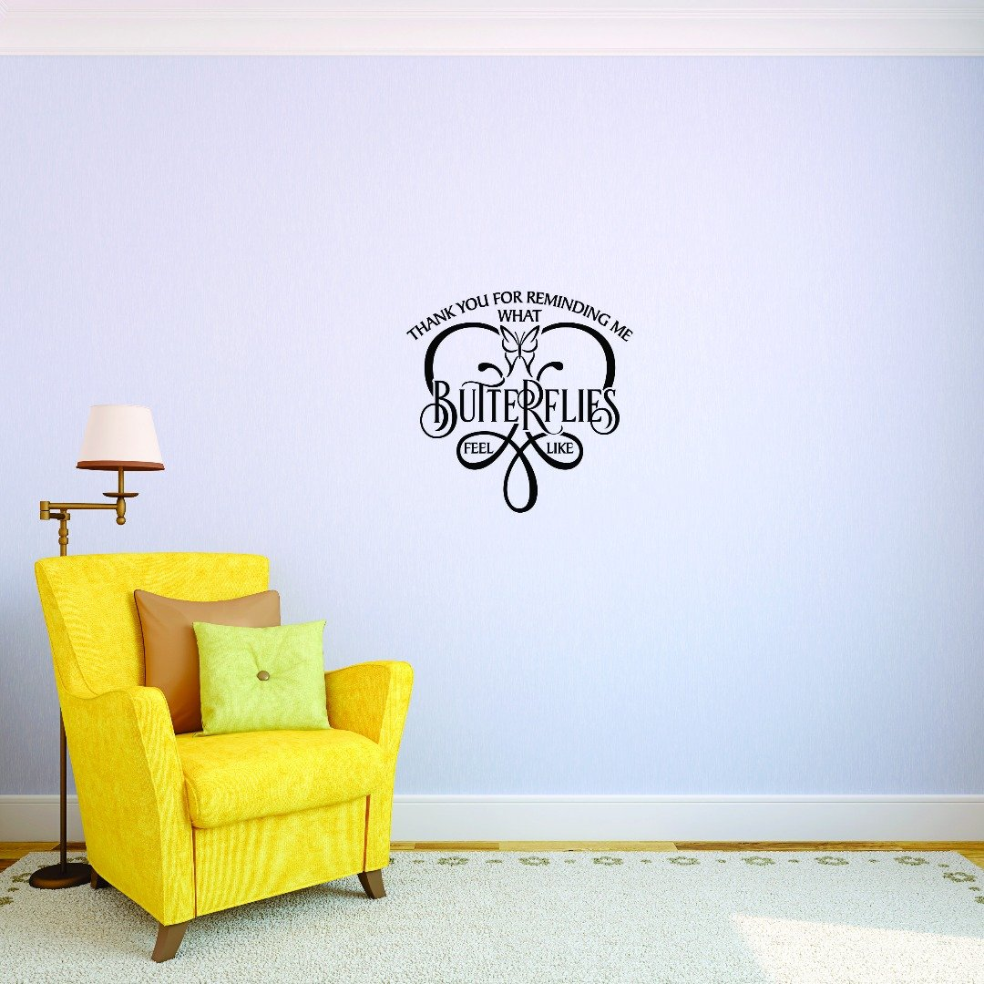 Design with Vinyl JER 1747 2 Hot New Decals Thank You for Reminding Me What Butterflies Feel Like. Wall Art Size 14 Inches x 28 Inches Color Black 14 x 28